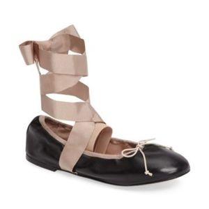Topshop Le Petite Ankle Tie Leather ballet flats